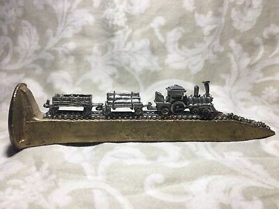 Gold Railroad Spike With Three Car Pewter Train