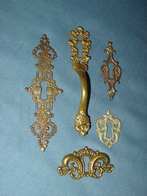 Antique Lot 5 Victorian Decorative Ornate Door Drawer Knob Keyhole Escutcheon