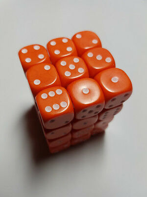 Dice & Games Opaque 36 x 12mm D6 Orange with White D&D RPG