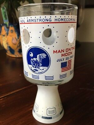 Apollo 11 Moonshot Glass 1969 NEIL ARMSTRONG HOMECOMING Souvineir