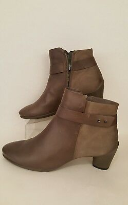 3c4ee6ca403 ECCO WOMENS SOFT Brown Leather Side Zip Ankle Boots Size Eur 42 Us ...