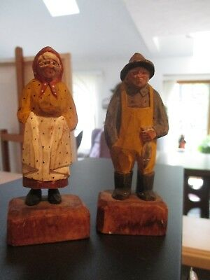 Vintage/antique Hand Carved Wooden Fisherman & Lady 4.5 Inches
