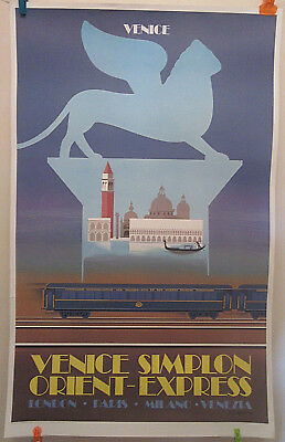 Aff originale SIMPLON VENICE ORIENT EXPRESS Masseau London Paris Milano Venezia