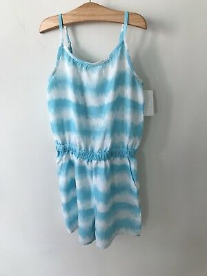 Girls H&M Blue Playsuit Age 9-10 Blue Tie Die Outfit