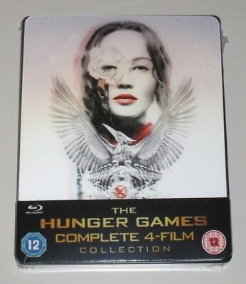 The Hunger Games 4 Film Collection Lenticular Blu Ray Steelbook New Sealed UK