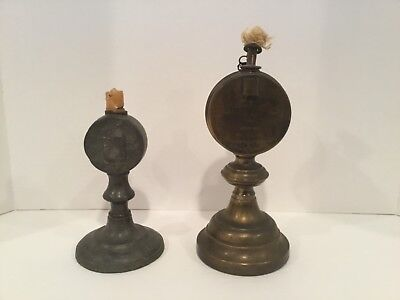 Two Vintage Whale Oil Lamps, very old,and ornate, Morley & Ober, dated 1820
