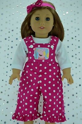 """Doll Clothes For 18"""" American Girl~Our Generation~JourneyDUNGAREE~TOP~HEADBAND"""