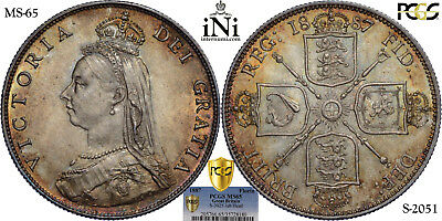 iNi  Great Britain, Victoria, Florin, 2 Shillings, 1887, PCGS MS 65