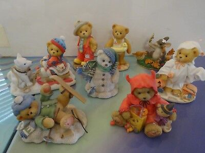Lot of 7 Cherished Teddies. Halloween, Winter. Plus 1 Charming Tails