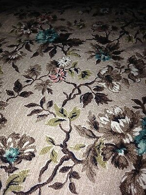 Vtg Upholstery Floral Fabric 1950s 1960s 53 by 64 Inches 2 1/2 YARDS