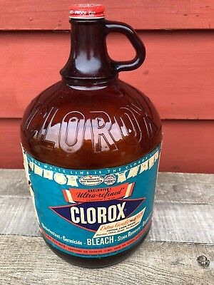 Vintage Amber Brown Glass One Gallon Clorox Bottle with Label