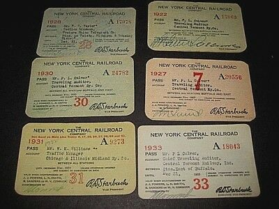 SIX 1920s & 1930s Trip passes. New York Central ( 4 for same person) C-7 sc