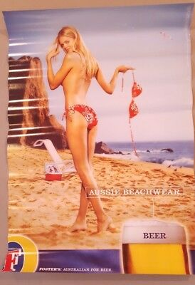 Vintage Beer Poster Advertising Ad 26 x 18 Inches Fosters Model On Beach