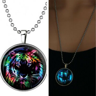 Popular Men Fairy Cool Tiger Glow in the Dark Stainless Steel Pendant Necklace