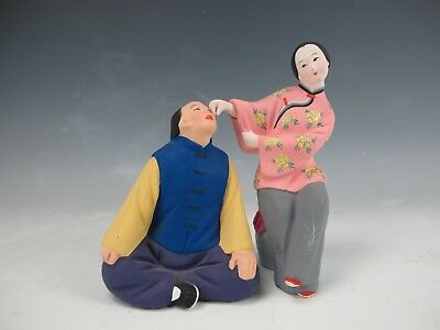 """A Set of Two Chinese  Colorful Clay Zhang  Figures  6.5"""" High"""
