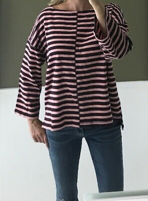 0ede72ff69768 LOU   GREY High Low Pink And Maroon Striped Boxy Textured Tunic Top Shirt L