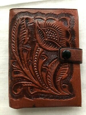 VTG Flores Stamped Hand Tooled Leather Bifold Wallet Coin  Mexico GUC Unisex?