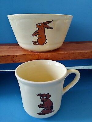 Antique Child's Ceramic Bowl And Cup Set Animal Theme Vtg heavy wear