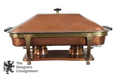1960s Legion Utensils Corp Pure Copper & Brass Chafing Dish Warming Tray Burners