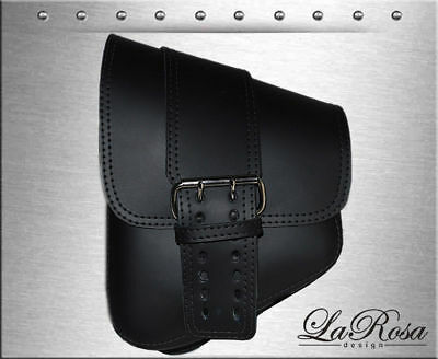 La Rosa Black Leather Big Strap Style Vulcan 900 Yamaha Road Star Left Saddlebag
