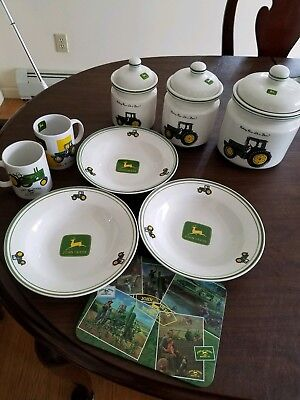 John Deere 3 Piece Canister Set, 3 soup bowls,  2 mugs, 1 hotplate, all Gibson