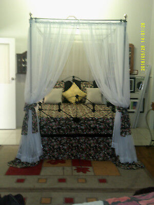 Victorian cast wrought iron double 4 poster bed