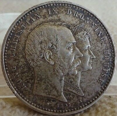 Denmark 1892 2 Kroner Toned Silver XF Old Collection