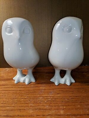 Vintage Pair of Large Modernist Royal DUX White Porcelain Owl Sculpture
