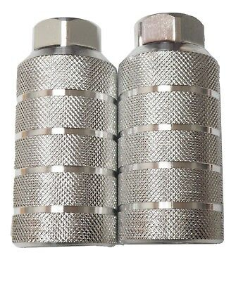 """2 x Bicycle Axle Pegs Alloy Silver 3/8"""" 26TPI Threaded BMX / Street Bike"""