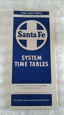 Santa Fe Railroad Train Timetable (1961)(#5)
