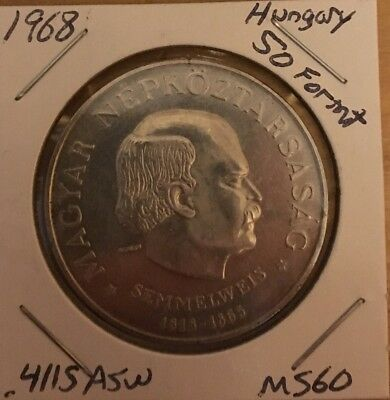 1968 Hungary Silver 50 Forint
