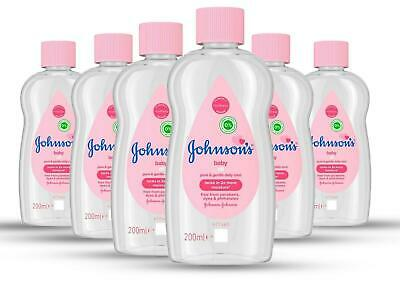 Johnson's Baby Oil 200ml Hypoallergenic Moisture Bath Massage Pack of 6 Bottles