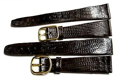 Scarce Lot Of 2 Nos Accutron Signed Men's 17Mm Vintage Leather Watch Band2 (C10)