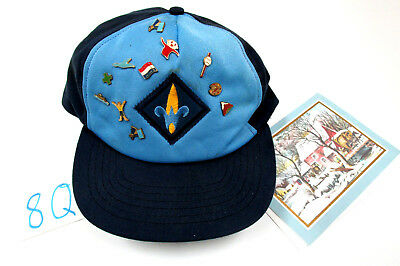 CUB SCOUT WEBELOS Hat / Cap With MANY PINS, Blue Style Cap,  #8Q -Boy Scouts