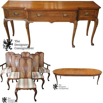 John Stuart for Mt. Airy Walnut Queen Anne Dining Set Sideboard Table & Chairs