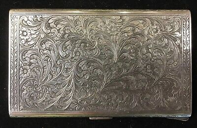 Hand-carved Antique Vintage Sterling Silver Cigarette Vesta Case 177 grams