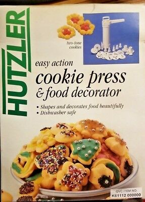 Huztler Easy Action Cookie Press - W/10 Disks & 6 Decorating & Two-Tone Discs