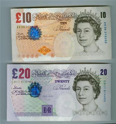 Great Britain 1999-2003 Bank Of England 10 Pounds And 20 Pounds Very Fine