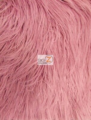 YETI MONGOLIAN FAUX FAKE FUR FABRIC - Rosewood - BY THE YARD COAT COSTUME CURLY