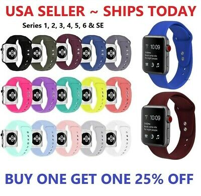 Replacement Sports Silicone Strap Band for Apple Watch iWatch 4/3/2/1 38mm 42mm