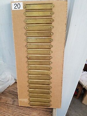 Vintage Lot of 19 Matching Brass Library Drawer Label Holders