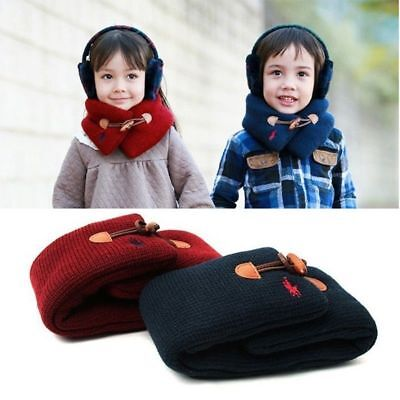 Winter Kids Baby Scarfs Cotton Soft Neck Warmers With Band Buckle Boys And Girls
