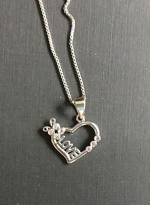 "bd6859f67 sterling silver love heart pendant with box chain set 18"" women's necklace  charm"