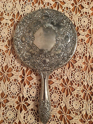 Vintage Victorian Ornate Silver Plated Floral Motif Hand Held Mirror