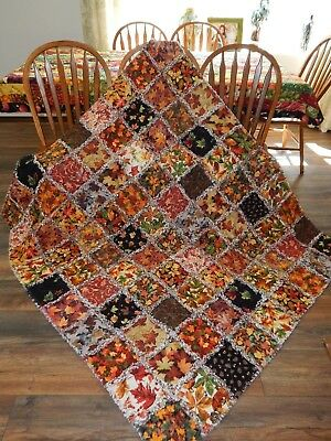 Acorn & Oak leaves XL Throw Quilt Rich Rustic Nature Colors Cotton Cuddler NEW