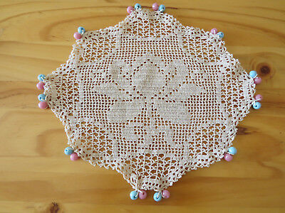 Vintage Filet Crochet Floral with Blue & Pink Glass Beads Jug Cover
