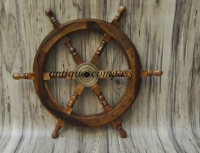 Wheel Wooden Steering Nautical Vintage Boat Ship Collectible home Decor Antique