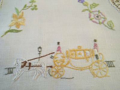 UK Royal Carriage & National Flowers ~Vintage Hand Embroidered Doily