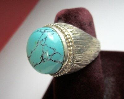 Vintage Art Deco 925 St. Silver Ring With Big Beautiful Turquoise