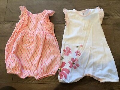 Baby Gap Burts Bees Organic Girl Summer Rompers 3-6 Months Cotton Pink